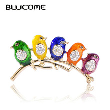 Blucome Colorful Five Cute Birds Brooches Crystals Enamel Jewelry For Girls Kids Best Gifts Scarf Shoulder Suit Collar Corsages
