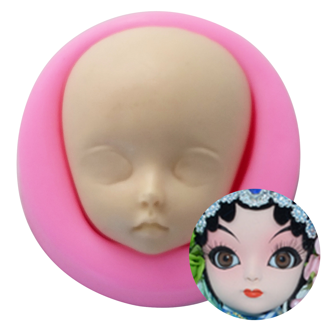 Baby Face Silicone Mold Polymer Clay Craft Moulds Handmade Dolls Face Making