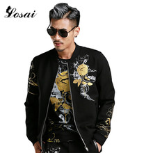New 2017 Fashion Men's Jacket Rose Floral Print Baseball Coallr Male Coat Autumn Spring Mens Outerwear Active Bomber Jacket Men(China)