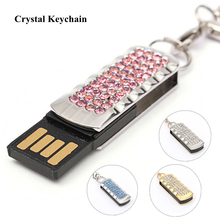 Fashion Metal Diamond Crystal Model Pen drive 4GB 8GB 16GB 32GB 64GB Jewelry USB Flash Drive 1GB 2GB Key chain Girl Love Gifts