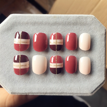 New Cute Ligne Designed Fake Nails 24 Pcs Short Oval Full Artificial Nail Tips Wine Red White Style with Glue Sticker