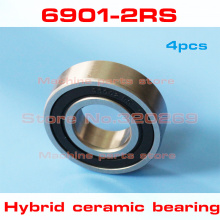 4pcs  radial 6901 61901 6901RS S61901 2RS 12*24*6 12x24x6mm stainless steel hybrid ceramic ball bearing Si3N4 bike hub part