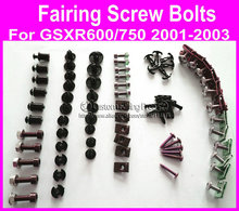 motorcycle parts screw bolt kit for Suzuki GSXR 600/750 2001 2002 2003 black fairing dag screws gsxr600/750 coupling bolt set
