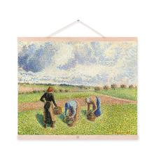 Pissarro Green Modern Impressionist Harvest Poster Prints Original Cottage Landscape Canvas Oil Paintings Bedroom Wall Art Gifts