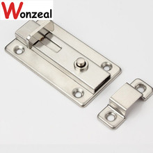 3 inch/ 4 inch stainless steel door bolt with elastic button(China)