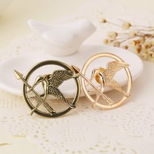 The hunger games brooch pins bird vintage retro gold and antique bronze mockingbird pin for men and women mock birds brooch jay