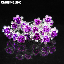 XIAOJINGLING 6Pcs/Set Purple Rose Flowers Hair Pins Crystal Wedding Bride Bridesmaid Hair Jewelry Charm Accessories Girls Gift(China)
