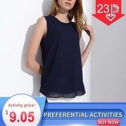 Женская летняя шифоновая блузка без рукавов, с оборками, в винтажном стиле