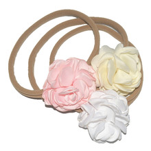 The new 24 Colors  8CM Girl Flower Head Decoration Women'sElastic Hair Band Fabric Hair tie Hair Accessories Hairband