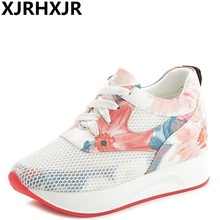 XJRHXJR Brand 2017 Wedge Shoes Hidden Heels Women's Elevator Shoes Casual Shoes For Women Breathable Lace Wedges(China)