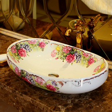 Oval Ceramic Counter Top Wash Basin Cloakroom Hand Painted Vessel Sink bathroom sinks rose pattern hand painted porcelain sinks