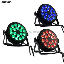 4pcs/lot LED Par Can 18x12W RGBW 4in1 LED Flat PAR DMX512 for Discos Music Stage Effect Disco Lamp stage light