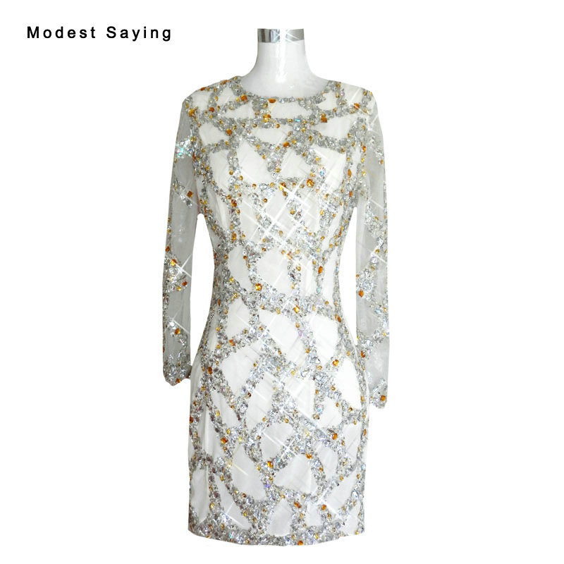 Sexy Sheer Silver Straight Long Sleeve Crystal Beaded Cocktail Dresses 2017 Short Party Prom Gowns Vestido De Festa Curto Yc54 Cocktail Dresses