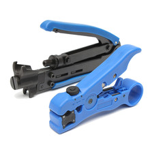 Electrician Tools RG59 6 11 Compression Coax Coaxial Cable Wire Crimper Stripper Connector Pliers Crimping Tool Blue Steel(China)