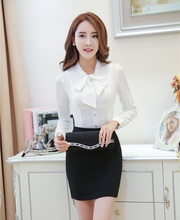 Formal Fashion Women Work Wear Suits with 2 Piece Skirt and Top Sets White Blouses & Shirts Elegant Ladies Office Uniform Styles