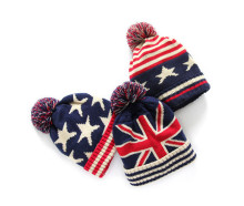 New pom pom knit beanie hat USA UK flag design knitted earflap cap(China)