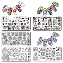 1 Pc Rectangle Nail Art Stamping Template Animal Flower Russian Roll Birthday Celebration Pattern Stamping Image Plates 12*6cm