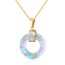 New Design Hot Multiple Sections Flicker Round Glass Pendant Necklace Woman Best Gift Jewelry Wholesale Love Necklace For Women(China)