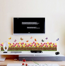 Warm Red Gold Tulip Border Floral Wall Stickers Decals Girls Vinyl Flower Decal Women Lady Rojo Bedroom Home TV Cheap Decoration