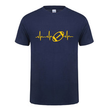 Summer Heartbeat of American footballer T Shirt Men Short Sleeve Cotton Rugbyer Mans T-shirt Tops Camisetas Tshirt OT-811(China)