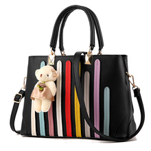 Fabra New Patchwork Vertical Stripe Black Women Messenger Bags Casual Small Handbag Crossbody Shoulder Bag 31*12*21 CM Wholesale