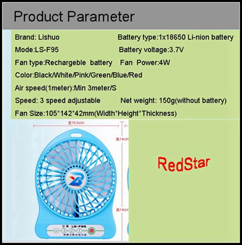 LISHUO USB rechargeble Mini Fan 6