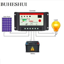 BUHESHUI Solar Panel Charger Controller System 10A 20A 30A 12V/24V time lighting Solar Regulator 100W 200W 300W 400W 500W
