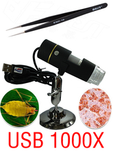 Portable Digital USB microscope 1000X 50 X ~ 1000X  In-built White Light 8pcs LED magnifier+1 pcs Tweezers