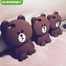 Cute Silicone Bear Phone Covers Back Cases For iPhone 5s 6s 7 Plus SE Cellphones Soft Shockproof Protective Shell Housing DD70(China)