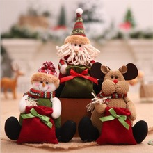 Buy Christmas Decorations Gift Santa Candy Bag Premium Christmas Doll Condom Sitting Christmas Cloth drop shipping
