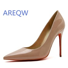 2017 Brand High Heels Patent Leather Women Pumps Pointed Toe Sexy Ladies Stiletto Shoes Woman Plus Size 35-41