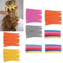 2017 10pcs Magic Hair Curler Roller Soft Sponge Bendy Twist Curls Hair Care Easy Hairdressing tool modeling AUG1_50(China)
