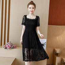 2018 summer plus size 4XL 5XL women lace dresses black hollow out sexy loose fashion dresses fashion clothing tops(China)