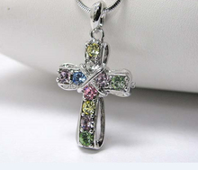 Fashion Metal Cross Snake Chain Crystal Rhinestone Pendant Necklace 3CM one piece xy121(China)