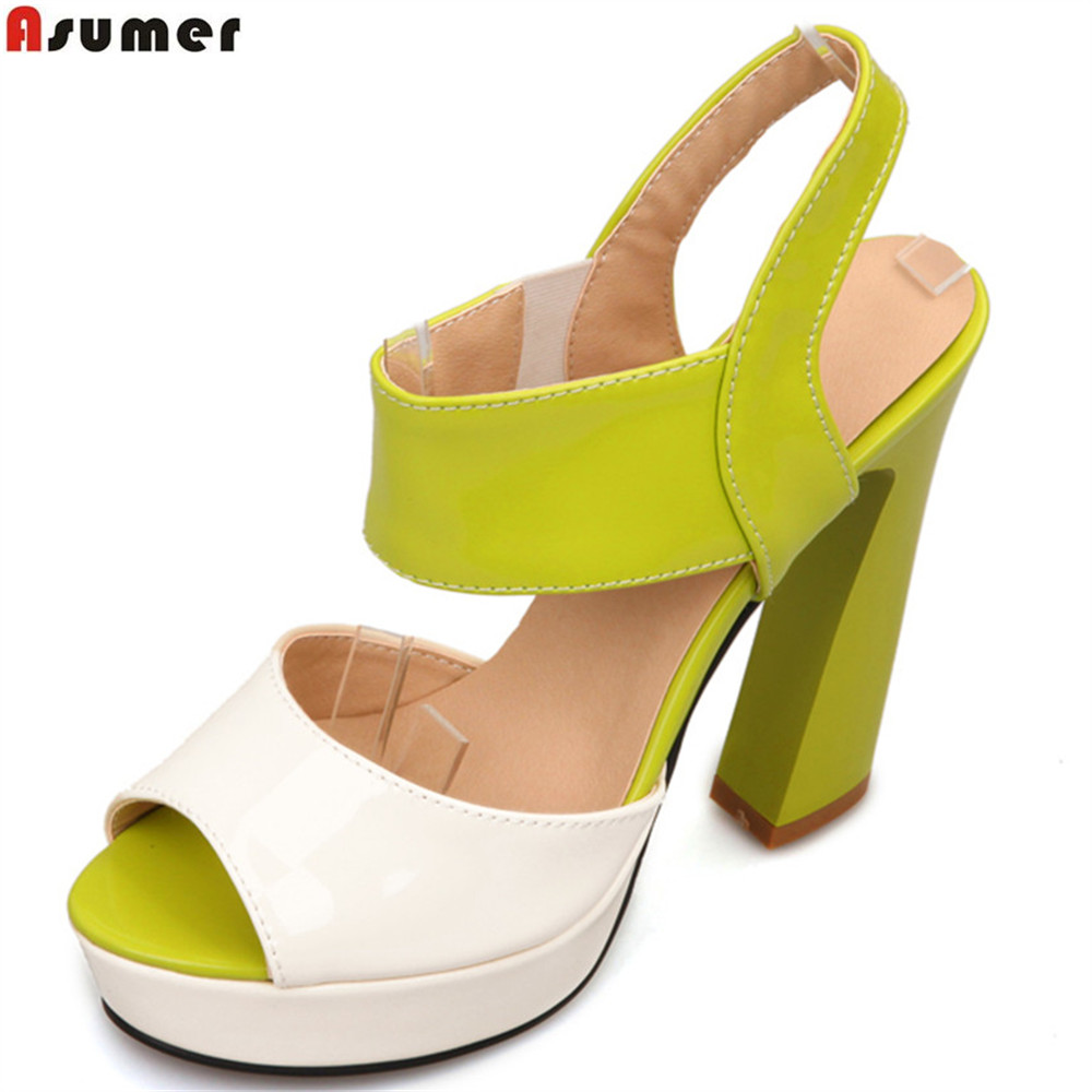 ASUMER black orange fashion summer ladies shoes buckle platform  mixed colors thick heel women high heels sandals big size 33-43<br>