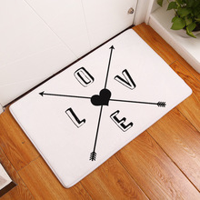 MDCT Black White Arrows Heart LOVE Pattern Floor Mats Area Rugs Anti-skid Outdoor Entrance Welcome Door Mats Area Carpet 40x60cm