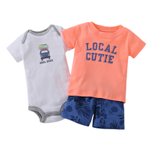 2017 Boy 3 Piece Set 100% Cotton Fleece Suit For Bebes Summer Baby Clothing Print Baby Sets Kids Clothes(China)