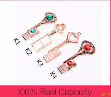 0!High quality USB Pen Drive Metal Pure Copper Heart Key Gift USB Flash Drive USB stick Key Genuine 4g 8gb 16gb 32gb Thumb Stick