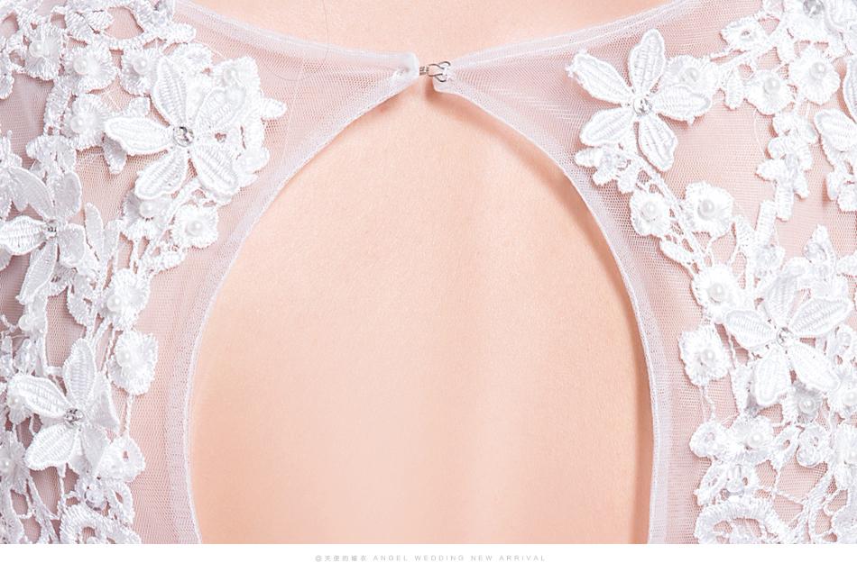 Angel Wedding Dress Marriage Bride Bridal Gown Vestido De Noiva 2017 Sweet, lace, flowers, long sleeves, 6011 19