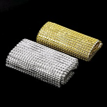 Hot 2 Colors 24 Rows Rhinestone Mesh Ribbon Cake Roll Wrap Silver Gold Electroplating Plastic Wedding Party Decoration(China)