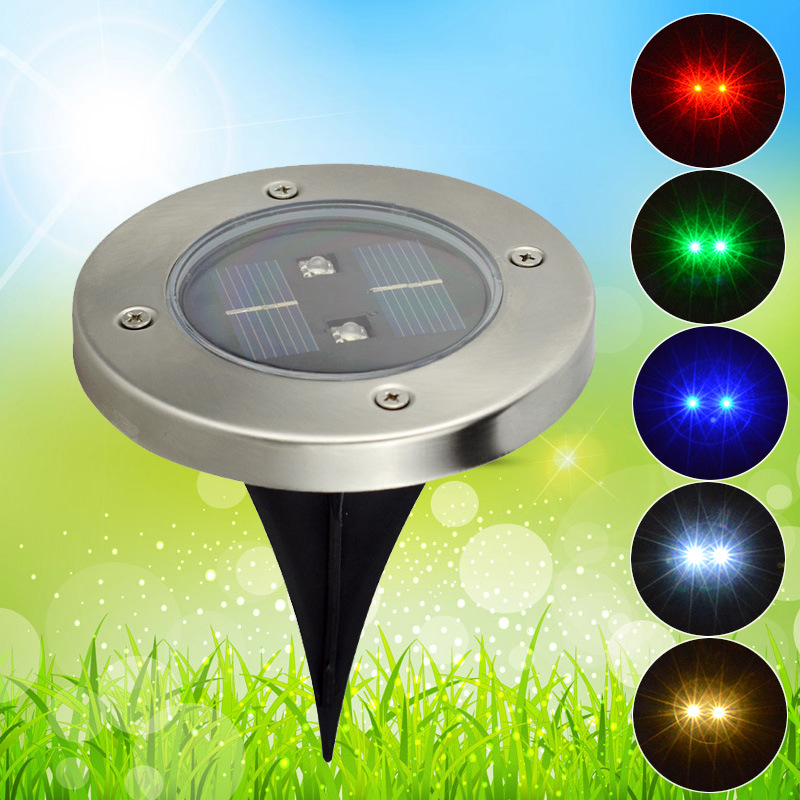 2Led Solar Powered Waterproof Lawn Light solar landscape Lighting Underground Light lamp Outdoor Solar lamp Garden decoration(China)