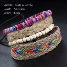 4pcs/set Multi Rangs Adjustable Bracelet Sets Wood Beads Hemp Rope Colorful Cuff Bangles Women Leisure Daily Jewelry Accessories
