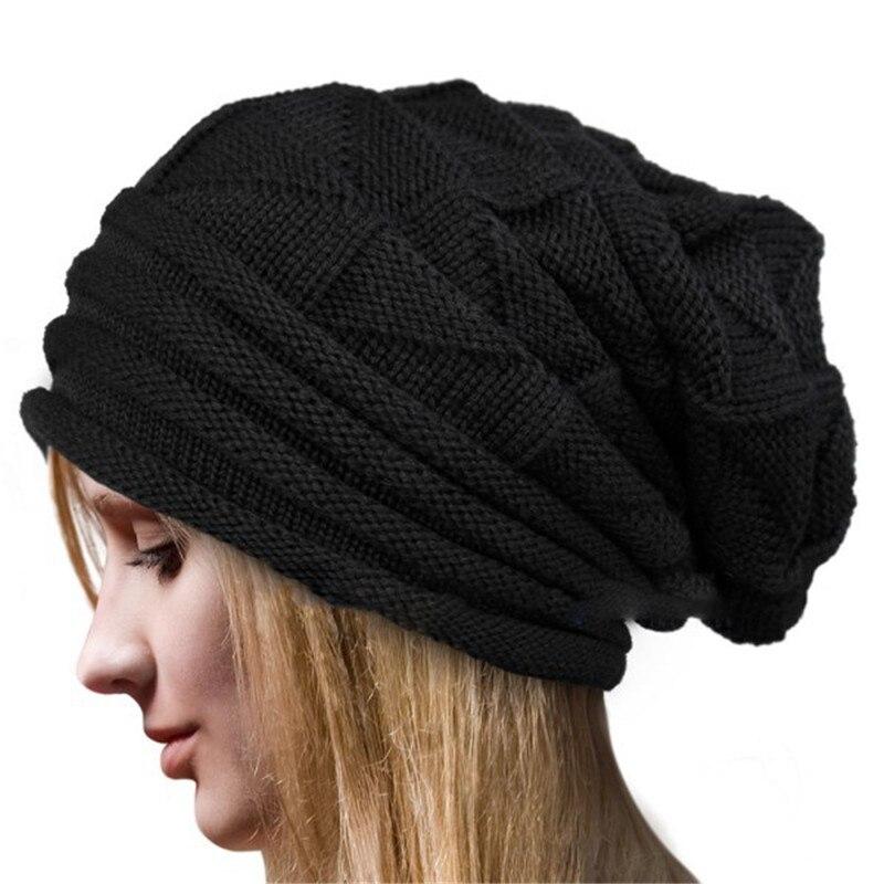 Korean Women Knitting Cap Winter Warm Crochet Wool Knit Beanie Beret Ball Cap Baggy HatÎäåæäà è àêñåññóàðû<br><br>