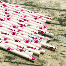 1000pcs Hot Pink Foil Flamingo  Paper Straws Eco Friendly Straws Birthday Wedding Shower Party Supplies