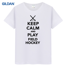 Short t shirt for men keep calm and play hockeyer  2017 mens jersey tee shirt gildan men's t-shirt 100% cotton uniform hip