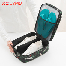 Floral Pattern Portable Travel Shoes Organizer Bag Double Layer Waterproof Tote Pouch Bag Underwear Bra Socks Storage Bag(China)
