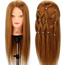 "Salon Model Head Practice 24"" 80% Human Hair Training Head Practice Mannequin  MANIKIN MODEL + Clamp"
