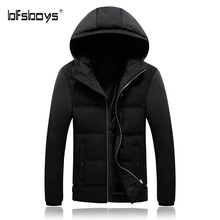BFSBOYS Thick Down Jacket Men 2017 Winter Zipper With hooded Slim Fitted Parka Ultralight Men Coats Casual Lightweight Down Jack