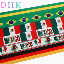 DHK 7/8'' Free shipping brazil mexico gemany flag printed grosgrain ribbon Accessory hairbow headwear DIY decoration 22mm S749