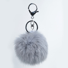 8CM KeyChain Of Real Rabbit Fur Keychain For Cell Phone Pendant Ring Car Key Rings And Handbag Charm Pendant
